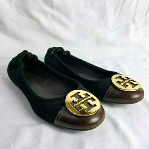 TORY BURCH BLACK FABRIC/LEATHER FLATS BROWN TIPS